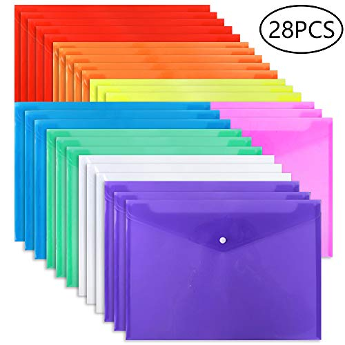 (EOOUT Poly Envelope Folder - 28pcs 8-Color Clear Plastic Envelope with Snap Button Closure - A4 Size)