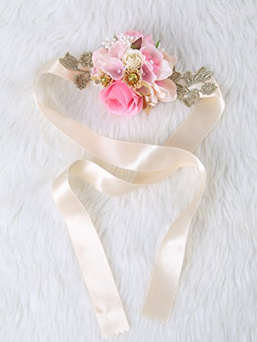 Crown Art Deco Vase (Pretty bridesmaid wrist Corsage Rose Flower Wedding Bridal (Pink Gold))