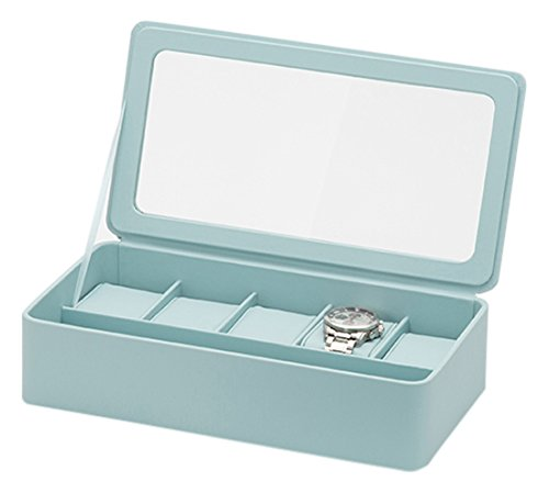 Watch Wolf Boxes (WOLF 463124 6 Piece Watch Box & Strap Tray for Apple, Aqua (Pack of 2))