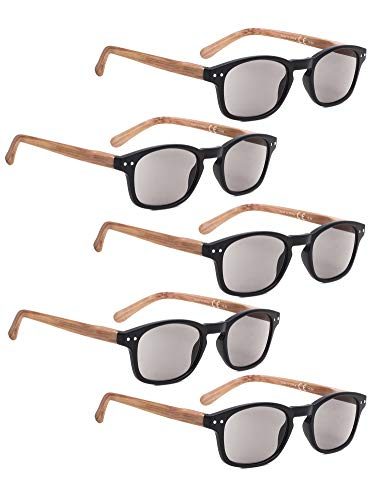 READING GLASSES 5 Pack Bamboo-look Temples Sunshine Readers (Grey Lens, 1.50)