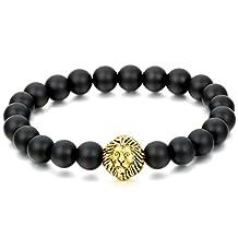Flongo Men's Punk Rock Alloy Lion Black Matte Stone Link Wrist Bracelet, 8.5 inch
