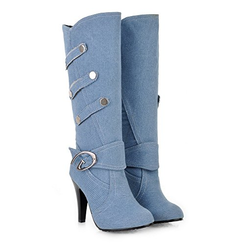 WeiPoot Womens Round Closed Toe High Heels Spikes Stilettos Denim Solid Boots with Metal Buckles, Lightblue, ()