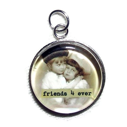 FRIENDS FOREVER Charm Pendant Silver Pltd GLASS Covered VINTAGE CHILDREN PHOTO