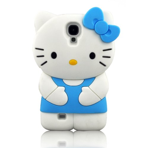 I Need's 3d Cute Soft Silicone Gel Hello Kitty Case Cover Protector Skin for Samsung Galaxy S4 SIV I9500 + 3d Hello Kitty Stylus Pen (BLUE)