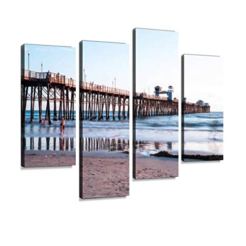 Oceanside Pier, California, USA Canvas Wall Art Hanging Paintings Modern Artwork Abstract Picture Prints Home Decoration Gift Unique Designed Framed 4 Panel