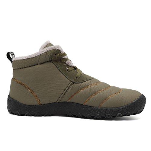 Keesky Mens Hiver Bottes De Neige Maison Pantoufles Imperméables Chaussures Dextérieur Isolés Vert Armée