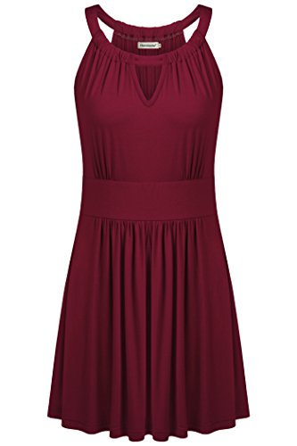Nandashe Casual Solid Tanks for Women, Sexy Miss Elegant High Waist Keyhole Elastic Off Shoulder Lightweight Fitted Long Camis Beach Wear Holiday Clothes Wine L by Nandashe