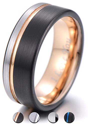 PINONLY 8mm Tungsten Carbide Wedding Band Men Women Rose Gold Line Ring-Silver Black Brushed-Engraved 'I Love You' Comfort Fit by PINONLY