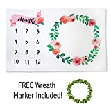 Baby Monthly Milestone Blanket | Premium Fleece Large 40'' x 60'' | Wreath Frame Included | Girl Infant Newborn Month Blanket | New Mom Baby Shower Gift | Photo Background Prop, Floral