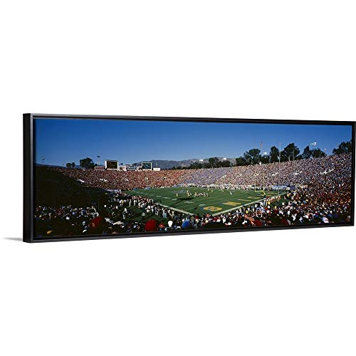 Floating Frame Premium Canvas with Black Frame Wall Art Print Entitled Spectators Watching a Football Match in a Stadium, Rose Bowl Stadium, Pasadena, California 60