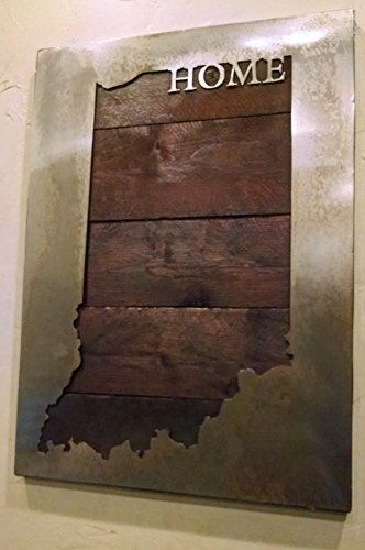 Custom State Map with ''HOME'' - State Love - Metal Art - Reclaimed Wood and Aged Steel by LegendaryFineArt (Image #1)