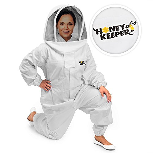 Honey Keeper Professional Cotton Full Body Beekeeping Suit with Self Supporting Veil Hood - Large