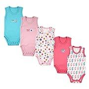 5-Pack Lightweight Sleeveless Bodysuits in Pink, 3-6 months