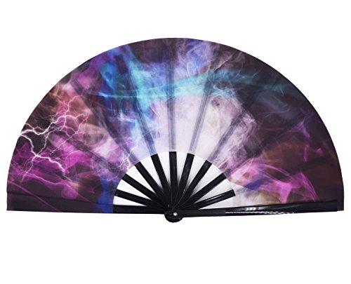 Amajiji Large Galaxy Folding Fan, Chinease/Japanese Folding Nylon-Cloth Hand Fan, Hand Folding Fans for Women/Men, Hand Fan Festival Gift Fan Craft Fan Folding Fan Dance Fan (AM5)