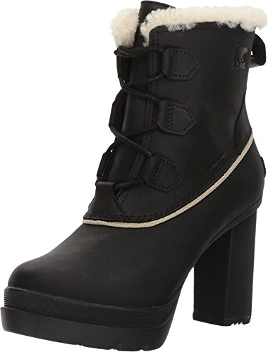 Leather Platforms Lambskin (Sorel Women's Dacie Lace Booties, Black, 10 M US)