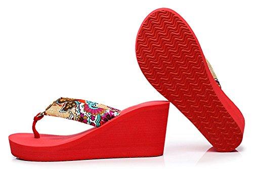 Sfnld Kvinna Trendig Sommar Bohemisk Flip Flop Plattform Kil Thong Beach Sandaler Rött