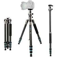 BONFOTO Carbon Fiber 57.6 B674C Lightweight Portable Compact Travel Tripod and Monopod with 360 Degree Ball Head + 1/4 Quick Release Plate + Carry Bag for Canon Nikon Sony DSLR Cameras