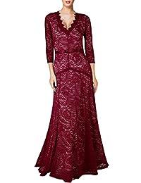 Miusol Women's Floral Lace 2/3 Sleeves Long Bridesmaid Maxi Dress (0044)