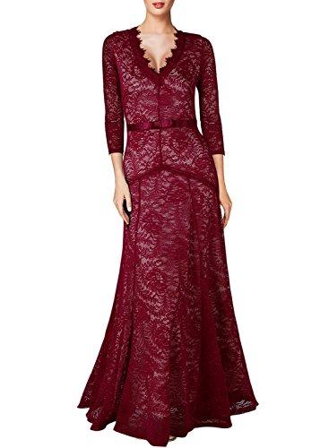 [Miusol Women's Floral Lace 2/3 Sleeves Long Bridesmaid Maxi Dress (Medium, Red)] (Masquerade Dress)