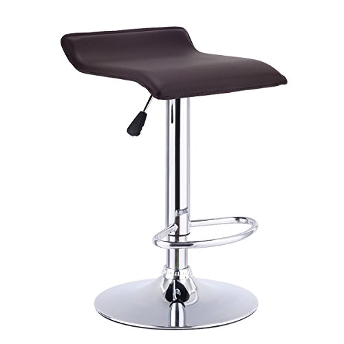 COSTWAY Swivel Bar Stool Backless Leather Dining Chair Adjustable Coffee
