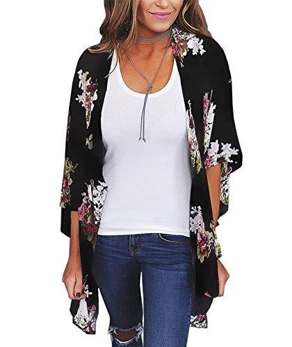 Women's 3/4 Sleeve Floral Kimono Casual Cardigan Sheer Loose Shawl Chiffon Beach Cover Up (B-Black, M)