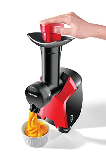 Chefman Frozurt, Frozen Dessert Maker, Healthy, Dairy Free, Vegan Ice Cream, Soft Serve Frozen Yogurt, Fruit Sorbet Sherbet Machine, Simple One Push Operation, Red