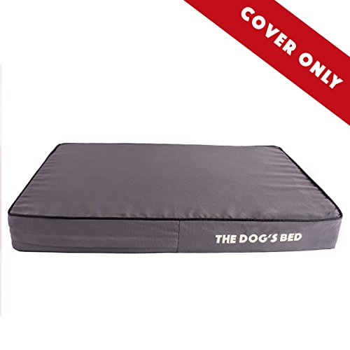 "Replacement Cover ONLY for The Dog's Bed, Washable Quality Oxford Fabric, Medium 34"" x 22"" x 4"" (Grey with Black Piping) by The Dog's Balls"