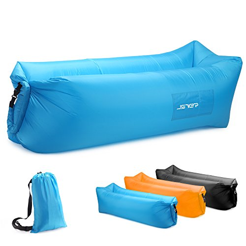 JSVER Inflatable Lounger Air Sofa with Portable Package for Travelling, Camping, Hiking, Pool and Beach Parties, Blue ()