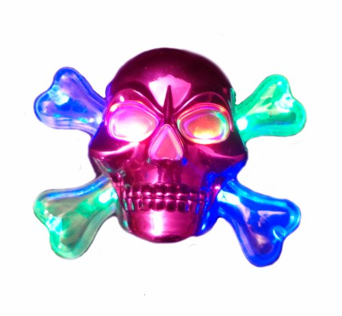 (WeGlow International Light Up Chrome Skull Necklace, Pink,)