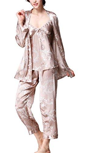 (Jusfitsu Women's Pajama Sets Elegance 3pcs Silk Pajamas Womens Sleepwear Sets Camel XL)