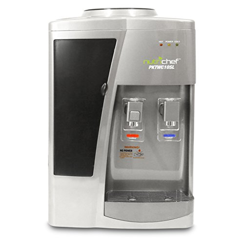 Automatic Compact Beverage Dispenser - Nutrichef Countertop Water Cooler Dispenser - Hot & Cold Water, with Child Safety Lock. (Silver)