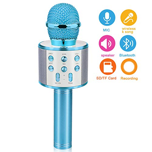 Gifts for 4 5 6 7 8 9 10 Year Old Kids, Touber Wireless Portable Handheld Karaoke Microphone Bluetooth Toys for 4-12 Year Old Girls Boys Family Birthday Party Gift Toy Age 4-12 Girl Boy