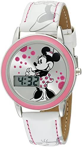 Disney Kids' MN1022 Minnie Mouse Watch with White Leather Band