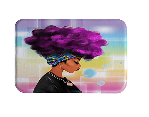 IMEI Afro Sexy Lady Bathroom Rug, Modern Girl Design Flannel Soft Washable Comfort Rug Multi-use Doormat in Bathroom, Kitchen,Toilet Floor, Laundry 16X24 Inch (African Woman with Purple Hair)