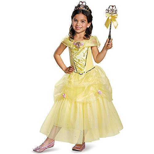 [Disguise Belle Deluxe Disney Princess Beauty & The Beast Costume, Small/4-6X] (Beauty And The Beast Costume Belle)