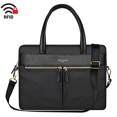 Cartinoe Laptop Tote Bag, Women Waterproof Laptop Bag Briefcase RFID Blocking Ultrathin Nylon Business Handbag Shoulder Messenger Bag For 14 15 inch Macbook Ultrabook For Ladies, Black ()