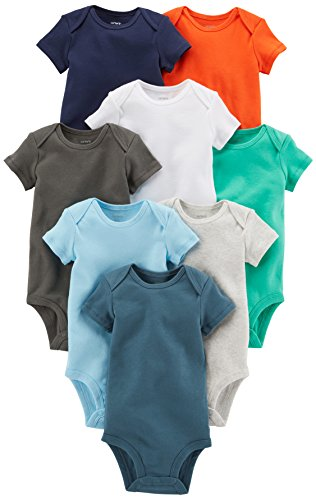 Carter's Baby Boys' 8 Pack Short-Sleeve Bodysuits, Multi/Turquoise, 6 Months