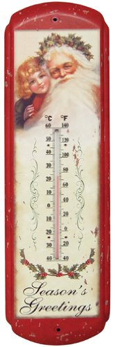 Old Fashioned Victorian Style Vintage Santa Thermometer Country Primitive Christmas Holiday Décor