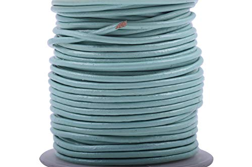 (KONMAY 25 Yards 2.0mm Aqua Solid Round Genuine/Real Leather Cord Braiding String (2.0MM, Aqua))