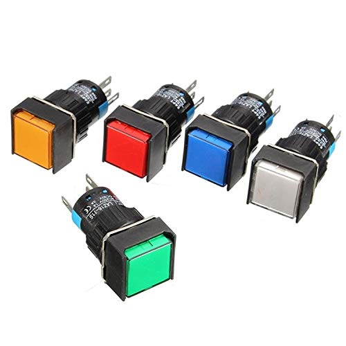 5Pcs 16mm Square Latching Push Button Switch Self-Lock LED Lamp 5 Pins - (Color: Red 5V) 16 Mm Square Button