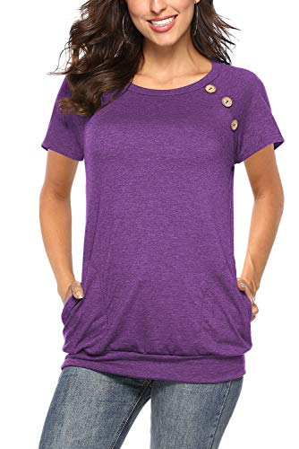 Fantastic Zone Solid T Shirts Short Sleeves Summer Tunics for Women to Wear with Leggings Purple ()