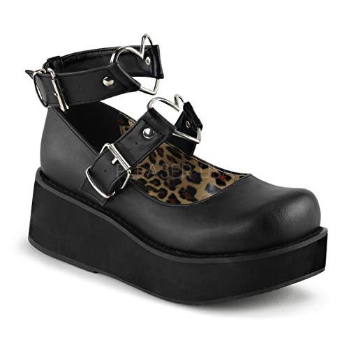 Demonia Women's Spr02/Bvl Fashion Sneaker, Black Vegan Leather, 8 M -