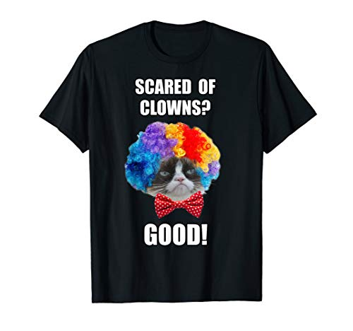 Grumpy Cat Halloween Scared Of Clowns Good Graphic T-Shirt]()