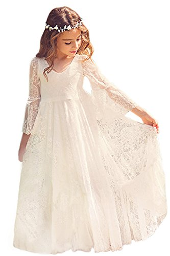 Babyonline trumpet Sleeve magic Lace Girl dress for - Vintage Pageant Dress