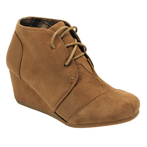 ILLUDE Women's Round Toe Lace Up Wedge Heels Suede Ankle Boots Booties (9, Tan)