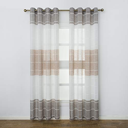 Aquazolax Sheer Curtains Linen Textured Panels Privacy Semitransparent Voile Sheer Drapes for Guest Room Living Room, Set of 2, W52 inch x L84 inch, Brown and -