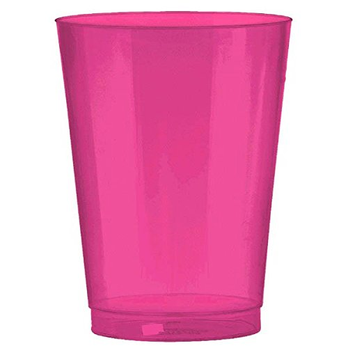 Amscan Big Party Pack Plastic Bright Cups, 10 oz, Pink