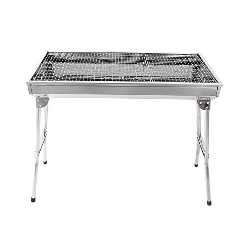 Silver Giant Trailer Bbq (nitipezzo Enjoy Barbecue Holiday with Stainless Steel Foldable Charcoal BBQ Grill Stove, Perfect for Family Gatherings, Garden Parties, Picnics and Camping.)