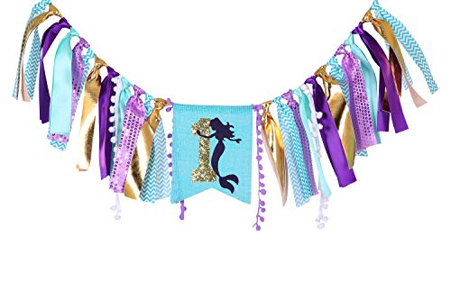Mermaid Banner for 1st Birthday - First Birthday Decoration for Mermaid Under The Sea,Baby Shower Or Party Photo Prop, Bohemian Style Boho Chic Party Ideas, Best Party Supplies (Let's Mermaid)]()