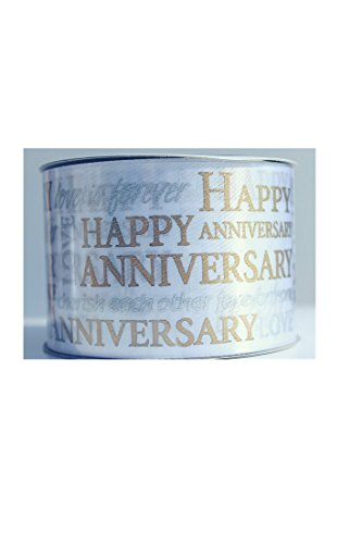 Silver and Gold Happy Anniversary Ribbon Mega-Rolls by Celebrate It